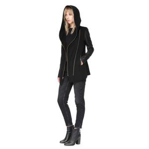 Mackage Fae Hooded Doubleface Wool Coat with Lambskin Leather Sleeves